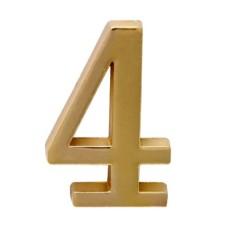 """Цифра дверная АЛЛЮР """"4"""" на клеевой основе золото"""
