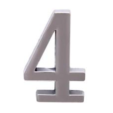 """Цифра дверная АЛЛЮР """"4"""" на клеевой основе хром"""