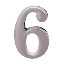 """Цифра дверная АЛЛЮР """"6"""" на клеевой основе хром"""