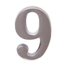 """Цифра дверная АЛЛЮР """"9"""" на клеевой основе хром"""