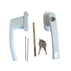 Ручка с ключом + кнопка д/пласт.окон Белая (WH008)